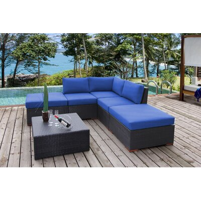 Scholtz 6 Piece Deep Seating Group with Cushions Fabric: Canvas True Blue