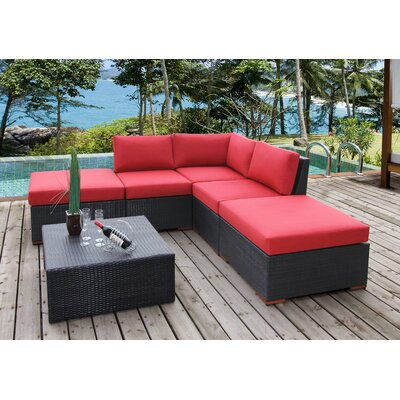 Scholtz 6 Piece Deep Seating Group with Cushions Fabric: Canvas Jockey Red