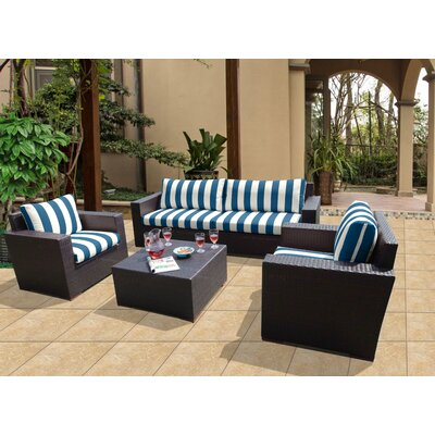 Scholtz 5 Piece Deep Seating Group with Cushions Fabric: Cabana Regatta