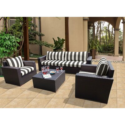 Scholtz 5 Piece Deep Seating Group with Cushions Fabric: Cabana Classic