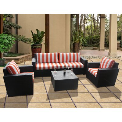 Scholtz 5 Piece Deep Seating Group with Cushions Fabric: Cabana Flame