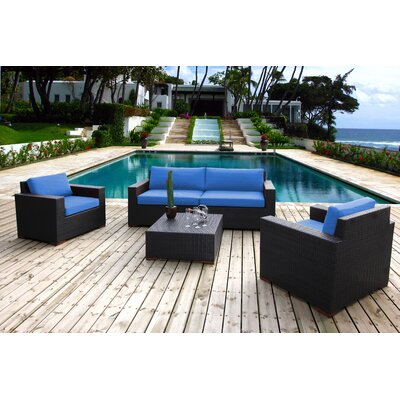 Scholtz 5 Piece Deep Seating Group with Cushions Fabric: Canvas True Blue