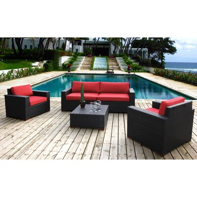 Scholtz 5 Piece Deep Seating Group with Cushions Fabric: Canvas Jockey Red