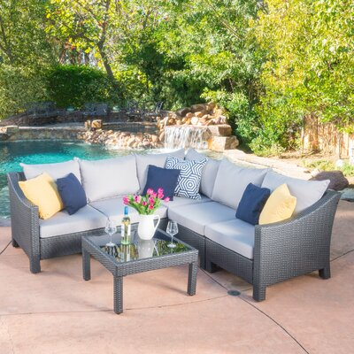 Skylloura 6 Piece Sectional Seating Group with Cushions Fabric: Gray/Silver