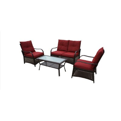 Bay Isle Home Cheltenham 4 Piece Rattan Sofa Set with Cushions Fabric: Red