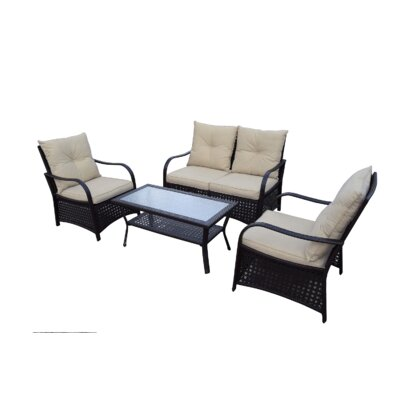 Cheltenham 4 Piece Deep Seating Group with Cushions Fabric: Beige