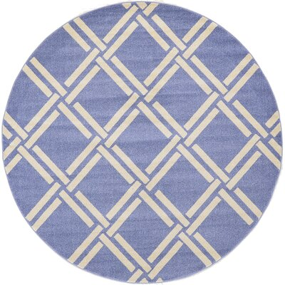Seagate Blue Area Rug Rug Size: Round 8