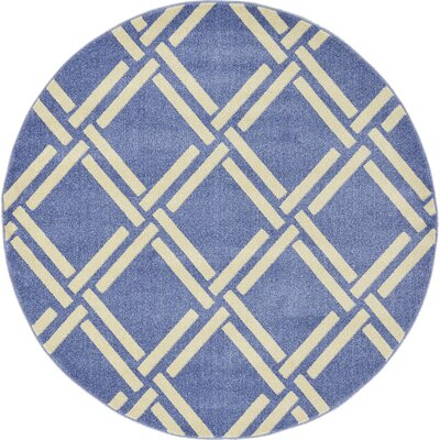 Seagate Blue Area Rug Rug Size: Round 6