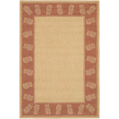 Celia Natural/Terracotta Indoor/Outdoor Area Rug Rug Size: 39 x 55