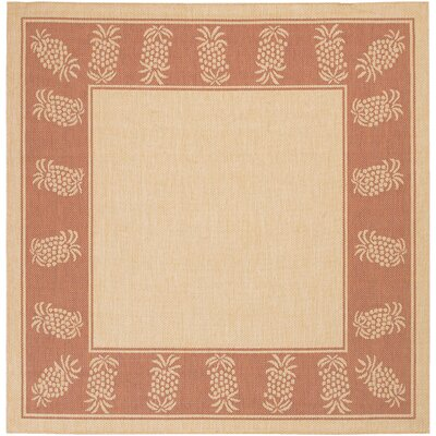 Celia Natural/Terracotta Indoor/Outdoor Area Rug Rug Size: Square 86