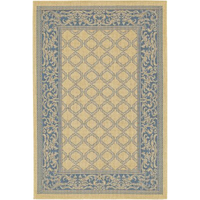 Celia Natural/Blue Area Rug Rug Size: Runner 23 x 119