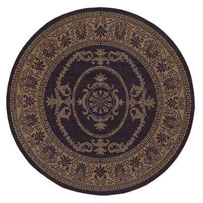 Celia Black/Brown Indoor/Outdoor Area Rug Rug Size: Round 76