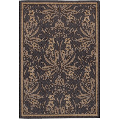 Celia Black/Yellow Indoor/Outdoor Area Rug Rug Size: 39 x 55