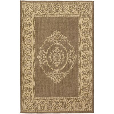 Celia Antique Medallion Natural/Cocoa Indoor/Outdoor Area Rug Rug Size: Runner 23 x 119