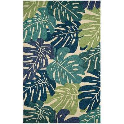 Totterdell Hand-Hooked Green Indoor/Outdoor Area Rug Rug Size: Runner 26 x 86