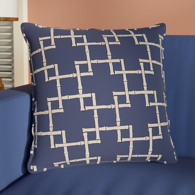 Connelly Bamboo Geometric Outdoor Throw Pillow Size: 20 H x 20 W, Color: Navy Blue