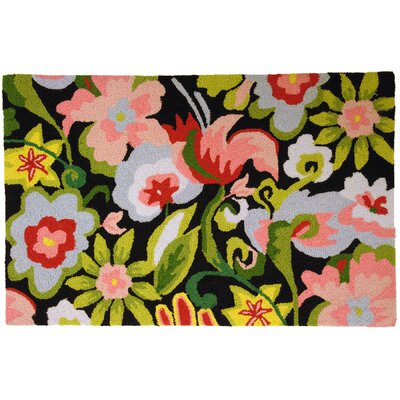 Barnstable Watercolor Flowers on Black Area Rug Rug Size: 110 x 210