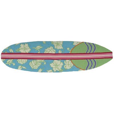 Barnstable Surfboard Hawaiian Blue Area Rug Rug Size: 18 x 6