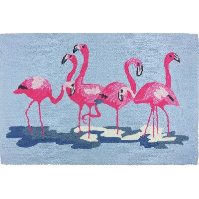 Barnstable Flamingos Blue/Pink Area Rug