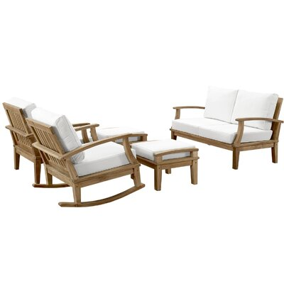 Elaina Teak 5 Piece Deep Seating Group