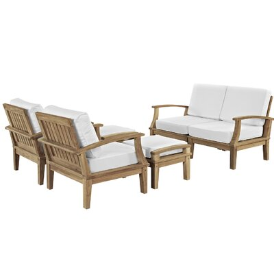 Elaina Teak 6 Piece Deep Seating Group with Cushions