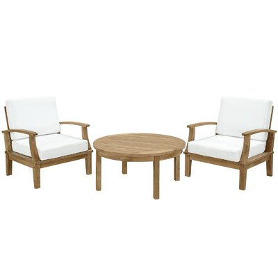 Bertha Teak 3 Piece Deep Seating Group with Cushion