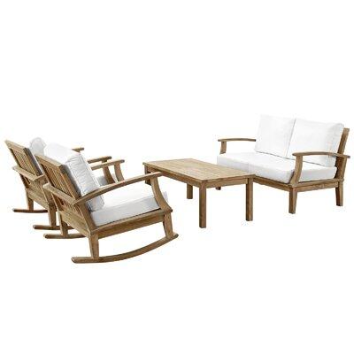 Elaina Teak 4 Piece Deep Seating Group with Cushion