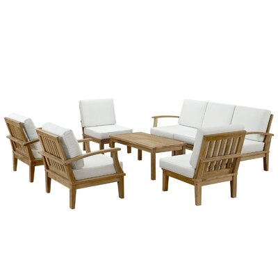 Bertha Teak 8 Piece Deep Seating Group with Cushions