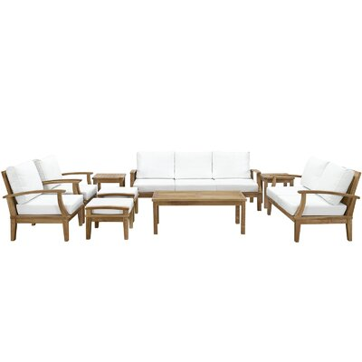 Elaina Teak 9 Piece Deep Seating Group with Cushions