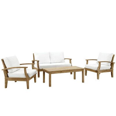 Bertha Teak 4 Piece Deep Seating Group with Cushion