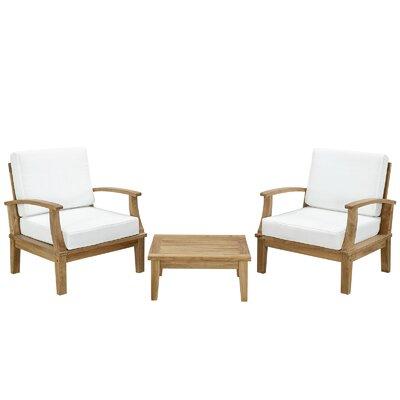 Elaina Teak 3 Piece Deep Seating Group with Cushions I