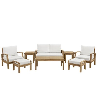 Bertha Teak 8 Piece Deep Seating Group