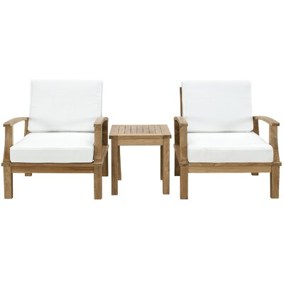 Elaina Teak 3 Piece Deep Seating Group with Cushions II