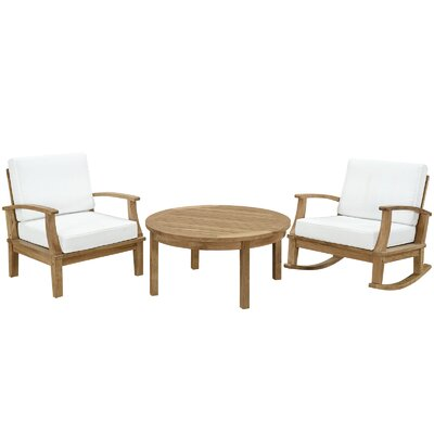 Elaina Teak 3 Piece Deep Seating Group with Cushion