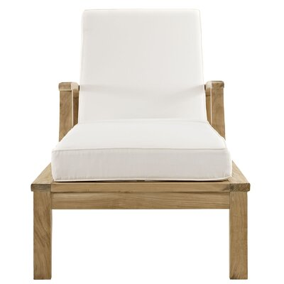 Elaina Teak Chaise Lounge with Cushion