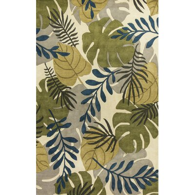 Imala Hand-Tufted Leaves Ivory Wool Area Rug Rug Size: Rectangle 5 x 8