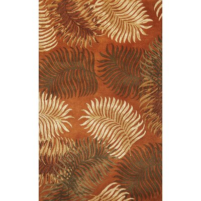 Delview Fern View Red Plants Area Rug Rug Size: Round 76