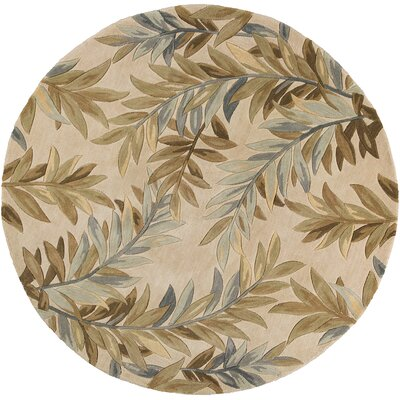 Murray Ivory Tropical Branches Area Rug Rug Size: Round 76