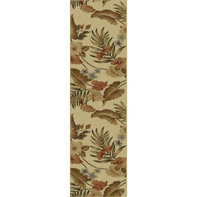 Coyne Ivory Tropical Rug Rug Size: Runner 23 x 77