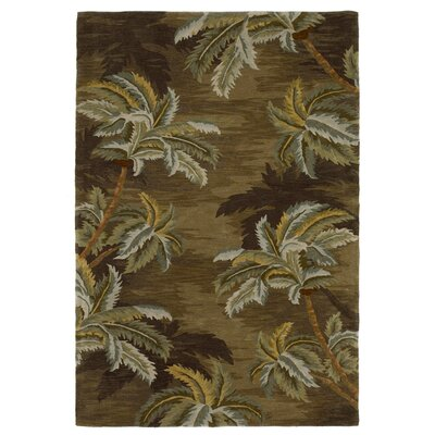 Murray Palm Trees Moss Area Rug Rug Size: Round 76