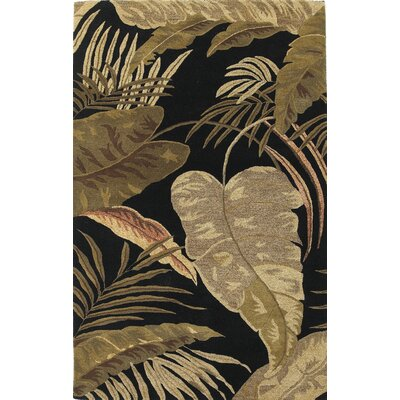 Delview Rainforest Midnight Brown/Tan Plants Area Rug Rug Size: Rectangle 33 x 53