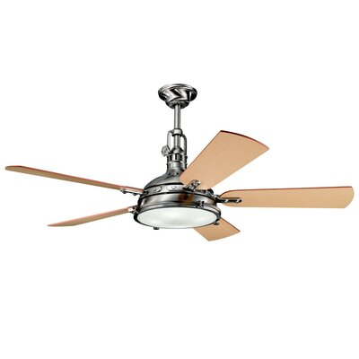 56 Dov 5 Blade Ceiling Fan Color: Brushed Stainless Steel with Medium Oak/Dark Oak