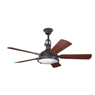 56 Kontea 5 Blade Ceiling Fan with Remote Finish: Distressed Black with Walnut/Cherry