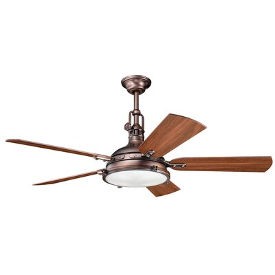 56 Dov 5 Blade Ceiling Fan Finish: Oil Brushed Bronze with Walnut/Cherry