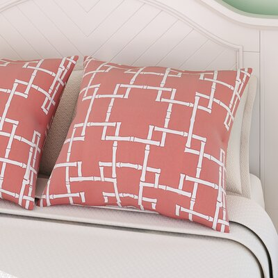 Connelly Bamboo 1 Geometric Throw Pillow Color: Coral, Size: 18 H x 18 W