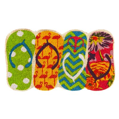 Dewson Shaped Flip Flops Coir Doormat