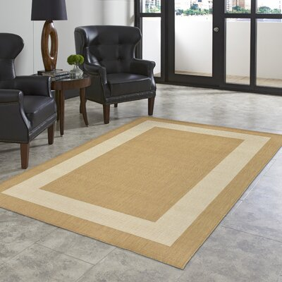 Bynum Border Almond/Camel Indoor/Outdoor Area Rug Rug Size: 111 x 211