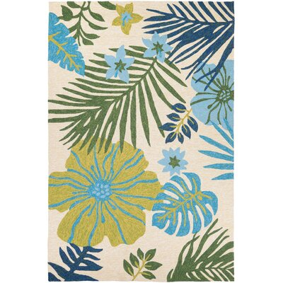 Amberjack Summer Laelia Hand-Woven Ivory/Fern Indoor/Outdoor Area Rug Rug Size: Rectangle 36 x 66