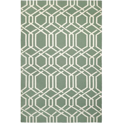 Wallingford Ariatta Sea Mist Hand-Woven Green/Beige Indoor/Outdoor Area Rug Rug Size: 56 x 8