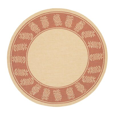 Celia Natural/Terracotta Indoor/Outdoor Area Rug Rug Size: Round 76